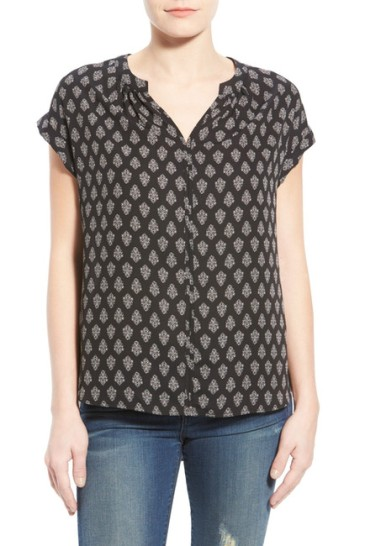 crepe split neck top
